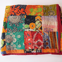Vintage Kantha Patchwork Quilt Blanket Throw Queen Bedding Made With Vintage Cotton Saree