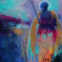 "Small Abstract Spiritual Art, Angel Painting, Totem, Colorful ""The Wilds Need Angels Too"" 8x8"""