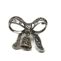 Bow and Bell Silver Filigree Brooch by Jezlaine