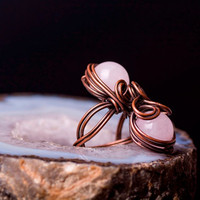 Bohemian Style Ring, Rose Quartz Ring, Wire Wrapped Stone Ring, Adjustable Copper Ring