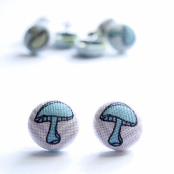 Blue and Light Yellow Green Mushroom on Pink and Blue Chevron Background Fabric Covered Button Earrings NICKEL FREE