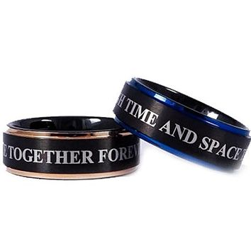 Black Engagement Rings Blue Black Pink Rose Tungsten Carbide Step Ring With Custom Engraving