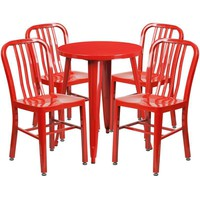 24'' Round Metal Indoor-Outdoor Table Set with 4 Vertical Slat Back Chairs