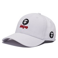 Bape Aape Fashion New Embroidery Letter Sunscreen Women Men Cap Hat White