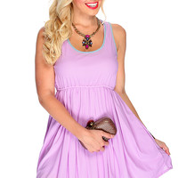 Lavender Sleeveless Casual Summer Dress