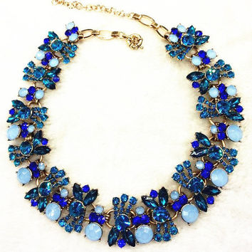 Crystal Gems Flower Statement Necklace   Two Colors