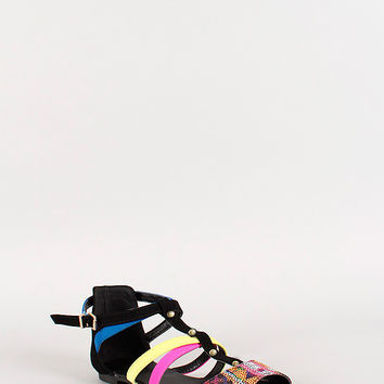 Qupid Faux Suede Multi Strand Studded Open Toe Flat Sandal