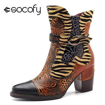 SOCOFY Wild Side Printed Leather Cowgirl Ankle Boots