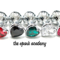 """Butt Plug HEART SHAPED & SPARKLING Small Stainless Steel Jeweled Butt Plug, 9 different colors! 3.5"""" inches"""