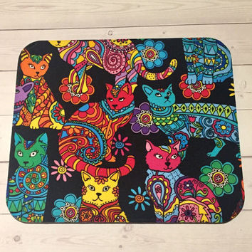 Cat kitty Mouse Pad mouse pad/ Mad - round or rectangle - office accessories desk home decor