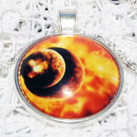 GALACTIC SUPER VOLCANO Nebula Pendant Fire Galaxy Necklace White Jewelry Necklace for him Art Gift for Her