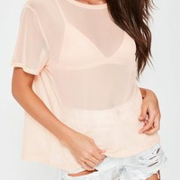 Missguided - Nude Mesh T-Shirt