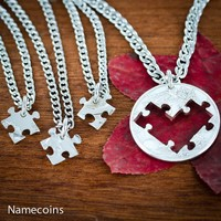 4 Puzzle Pieces Best Friends Heart Necklaces, Friendships or Family Jewelry