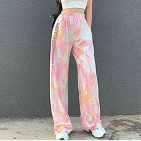 Fashionable tie dye letter print high waist drawstring straight leg pants