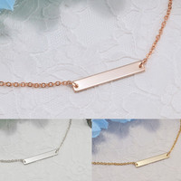 Personalized Bar Geometric Necklace Bracelet Anklet Delicate Hand Stamped Jewelry