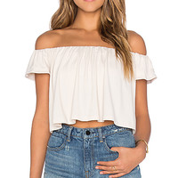 Off the Shoulder Crop Top in Blanched Almond