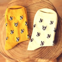 French Bulldog Puppy Head Print Animal Themed Cotton Socks in White | DOTOLY