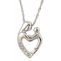 """10K White Gold Diamond Mother and Child Pendant with Necklace 18"""" (0.03cttw, I Color, I Clarity)"""