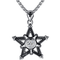 Stainless Steel Pentagon Star Cross W. Cubic Zirconia Pendant Necklace