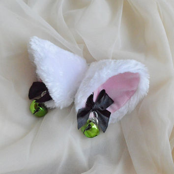 Kitten play clip on cat ears with ribbon bows and bells - neko lolita cosplay costume - kitten play gear accessories - white