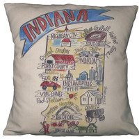 Southern Apparel and Serendipity Roadmap Pillow Indiana