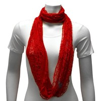 Luxury Divas Red Lacy Sheer Lightweight Ring Infinity Scarf