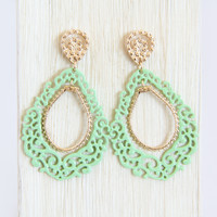Mint Classical Pattern Dangle Earrings