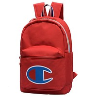 Champion Tide brand men and women embroidered letters large C logo wild fashion backpack Red