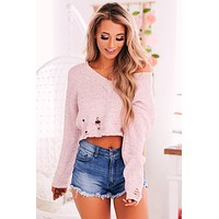 Have A Little Faith Distressed Sweater (Blush)