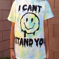 Unisex I Cant Stand You Melting Smiley Face tie by ToxicApparel