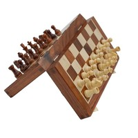 SouvNear Chess Set - Magnetic Folding Chess Game - Fine Wood Classic Handmade Standard Staunton Ultimate 10x10 Inch Rosewood Chess Board Set with Storage for Pieces