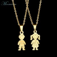 MENSAZONE Stainless Steel Necklace Family Love Boy Girl Pendant Jewelry Chain Necklaces Children Charm Gifts