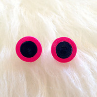 Quilled Paper Earrings - Black and Magenta -  Handmade, Studs, Round, Paper, Trendy, Fun, Unique, Gift, Colorful, Casual, Mod, Fashion, Bold