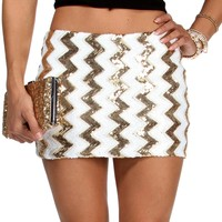 Sale-chevron Sequin Mini Skirt