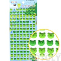 Cute Froggy Frog Face and LilyPad Shaped Animal Themed Puffy Stickers for Kids