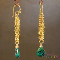 """Chain with green turquoise, 2-1/2"""" Earring Gold Or Silver"""