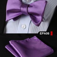 EPA06 PURPLE Gravata Solid Bow Men tie 100%Silk Woven Party Classic Pocket Squar