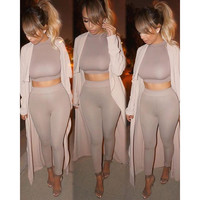 Grey Crop Top Elastic Waist  Pants