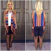 Trailways Tribal Vest - RUST & MOCHA