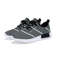 Men Fluorescent Light Up Mesh Stripe Breathable Lace Up Casual Sport Outdoor Sneakers