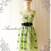In the racing...Amor Vintage Inspired Bright Lime Green Horse Printed Chic Dress