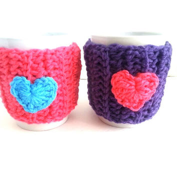2 Coffee mug cozy, cup warmer, mug cover, cup cozy, travel mug warmer, pink heart cozy, gifts for him, gifts for her, mug cover