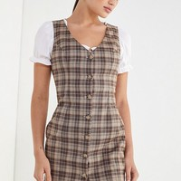 UO Woven Plaid Button-Front Dress   Urban Outfitters