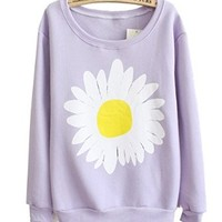 Mooncolour Women Girls Cute Chrysanthemum Pattern Crewnek Pullover Fleece Sweatshirt
