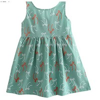 Cute Floral Printed Baby Girls Dresses Summer Sleeveless Bow Princess Dress Casual Costume Kids Clothes Tutu