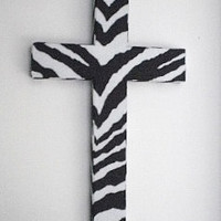 ZEBRA PRINT Wall Cross -  wood cross w/ zebra print eco felt