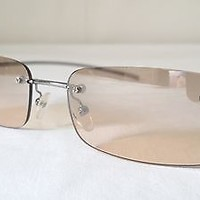 Authentic Gucci Frameless Sunglasses GG 1715/S Silver Grey Frame/ Tan Lenses