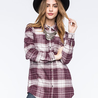 Full Tilt Extreme Fit Plaid Womens Flannel Shirt Plum  In Sizes