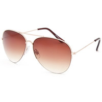Full Tilt Half Rim Aviator Sunglasses Gold One Size For Women 25748162101