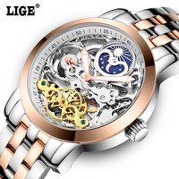 Mens Moon Phases Tourbillon Automatic Mechanical Watches